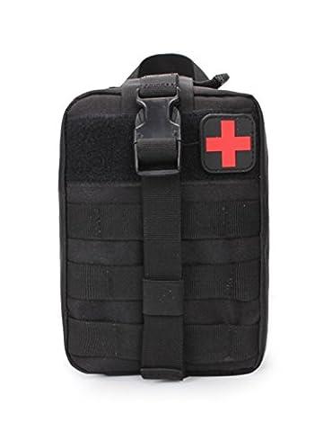 Ehebt tactique Molle First Aid Pouch Banane EDC EMT médicale militaire utilitaire Sac pour extérieur Wilderness Camping Randonnée, noir