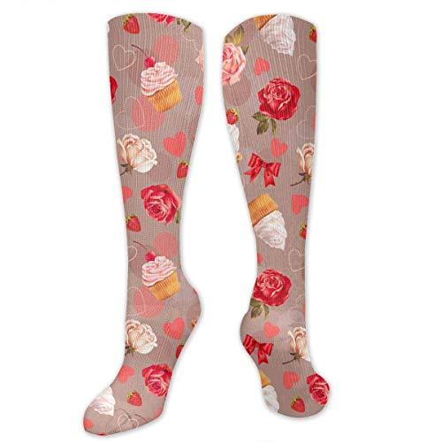 Muster Kinder Kostüm Cupcake - Gped Kniestrümpfe,Socken, Novelty Unisex Romantic With Roses,cupcakes Pattern Knee High Socks, Cool Sport Travels Stockings, 20 Inch Tube Socks