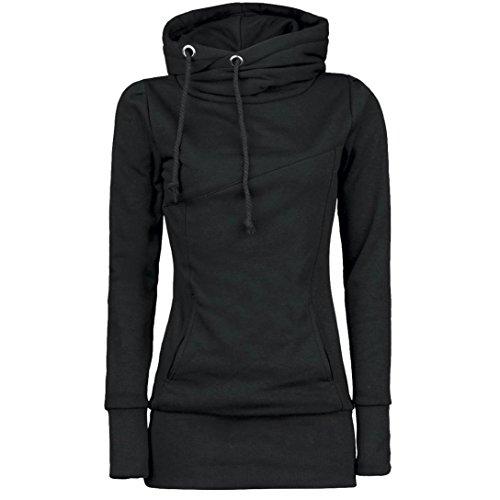 Switchali Damen Mode Frauen lösen Pullover T-Shirt Langarm Bluse Schwarz