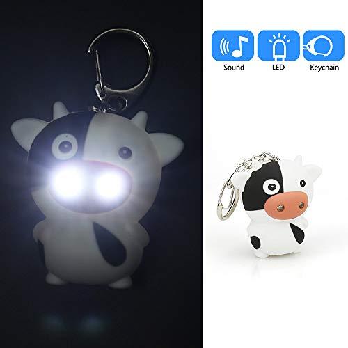 Cartoon Schlüsselanhänger mit Schlüsselanhänger, Mini-Taschenlampe, niedlicher Cartoon-Kuh-Schlüsselanhänger mit LED-Licht und Sound für ()