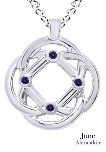AFFY Hombre Unisex Mujer Plata de ley (925/1000) Plata chapada en oro blanco de 18 K round shape violeta alejandrita