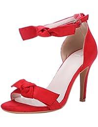 Artfaerie Damen Riemchen High Heels Sandalen mit Schnalle und Schleife  Ankle Strap Stiletto Pumps Elegant Offen c0766e4492