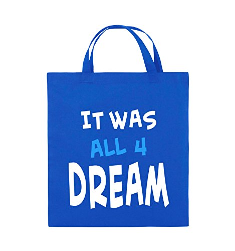 Comedy Bags - It was all four dream - KLEINE ZAHL - Jutebeutel - kurze Henkel - 38x42cm - Farbe: Schwarz / Weiss-Neongrün Royalblau / Weiss-Hellblau