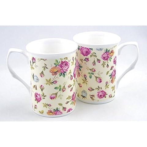 Pair Fine English Bone China Mugs - Rose Basket Cream