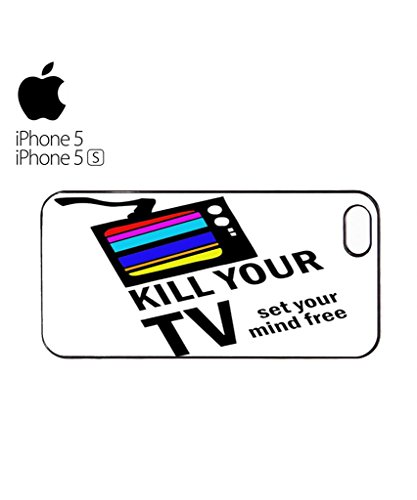 Kill Your TV Set Your Mind Free Cell Phone Case Cover iPhone 5c Black Blanc