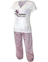Schlafanzug kurz Caprihose Damen Pyjama kurz Damen Nachthemd kurz aus 100% Baumwolle softweich Gr. S M L XL