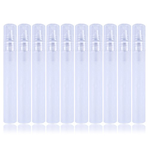 10PCS Kunststoff Flasche Spray Mini leer Probe Flaschen Zerstäuber Pumpe für Parfüm, Toner und etc, 10ml, transparent weiß - 10 Ml Parfum Spray
