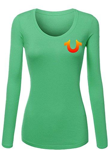 Margaretlowe New True Religion Women's Long Sleeve T-Shirt Green