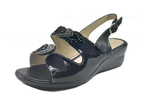 Sandali donna casual /eleganti linea comoda con zeppa e velcro 1116 Nero
