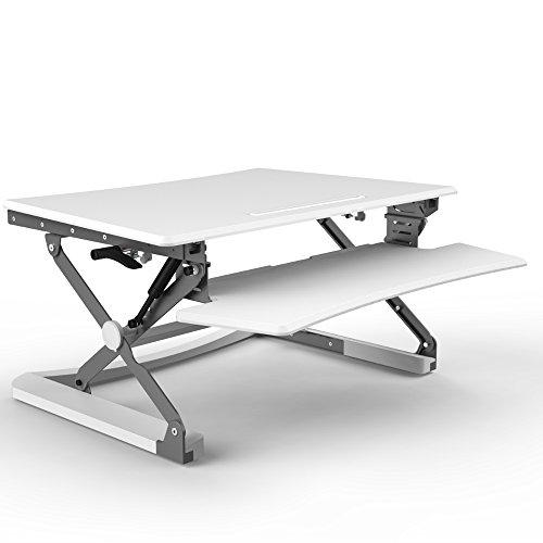 Workstation Riser (Euroseats Steh-Sitz-Workstation Extra Groß | 88,9cm Ergonomischer Höhenverstellbarer Schreibtisch Riser gerade nach Oben 5,9um 500,4cm MDF, Metall, weiß, 59x 89x 15cm)