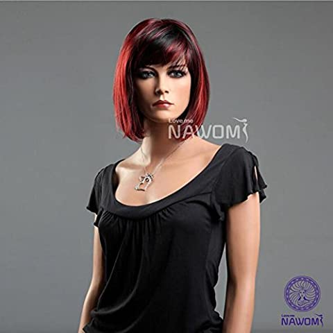 Frauen Perücke kurz Bob Straight Red und schwarz gemischte Farbe Rose Net Kopf Sets Hitzebeständiges Haar , black and red color