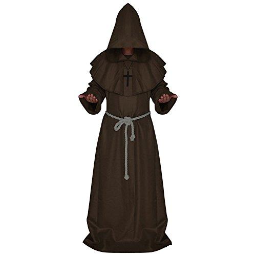 Boodtag 3-teilig Herren Mönch Kostüm Mittelalter Mönch Robe -