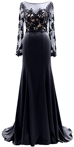 MACloth Long Sleeves Illusion Lace Mother of the Bride Dress Formal Evening Gown Dark Navy