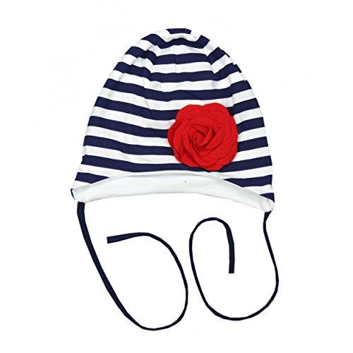 Baby Mütze zum Binden Mädchen Bindemütze mit Blume Ohrenschutz Kinder Erstlingsmütze Frühling/Herbst, Farbe: Streifenmuster Dunkelblau, Größe: 0 - 6 Monate