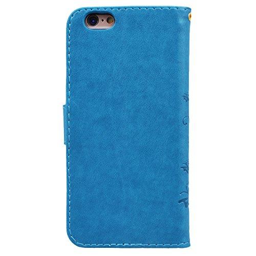 WE LOVE CASE iPhone 6 / 6s Hülle Schutzhülle , iPhone 6 6s Lederhülle Im Retro Style Muster Tasche Handytasche Backcover Stoßfest Protective Bumper Case Cover Brieftasche Kartenfächer Karten Slot Magn Blau