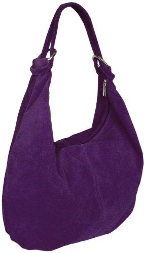 Damen Leder Schultertasche,Shopper,Handtaschen Beuteltasche 36x42 cm(HxB) Lila
