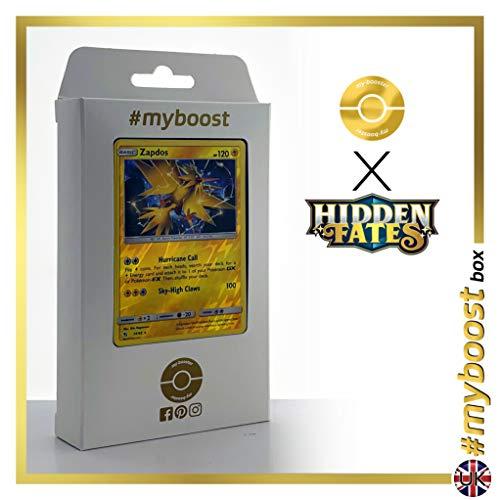 Zapdos 24/68 Holo Reverse - #myboost X Sun & Moon 11.5 Hidden Fates - Box de 10 cartas Pokémon Inglesas