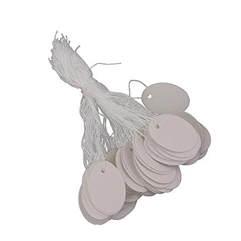 500pcs Etiquette Papier Chaîne Affichage de Prix pour Bijoux Montre Bagages Blanc