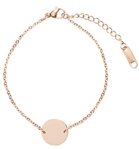 Happiness Boutique Damen Kreis Armband Minimalist | Rosegold Armband mit Plättchen Anhänger Geometrischer Schmuck