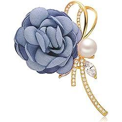 Epinki Joyería Chapado en Platino Broches para Mujer Flor Cinta Perla Azul Broches