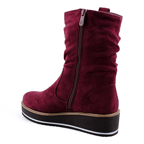 Wein Schuhe Schlupf Damen sohle Boots Stiefeletten Velours Stiefel Plateau optik Reißverschluss Dicke qn5Pvw5F