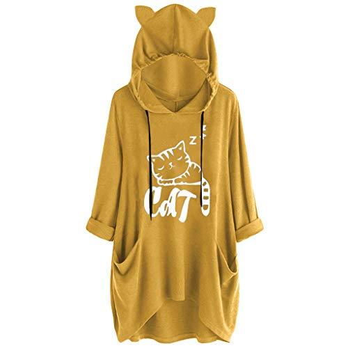 ❤️ AG & T ❤️ Frauen Brief Drucken Katze Ohr Hoodie Lose Beiläufige Baggy Pullover Hoodies Taschen Plus Size Sweatshirt - Textmarker Kostüm
