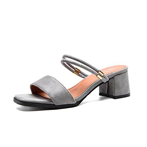 Damen Sandalen Nubukleder Eckig Blockabsatz Peep-Toe Slip on Einfach Modisch Sommerlich Bequem Strapazierfähig Schick Pantoletten Grau