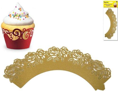 Party Craft MIPC202I Multicraft Imports Cupcake-Umrandung, Rosen-Design, Paper, gold, 21.4 x 10.8 x 1 cm
