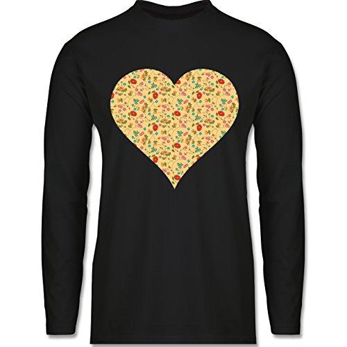 Vintage - Herz Blumen - Longsleeve / langärmeliges T-Shirt für Herren Schwarz