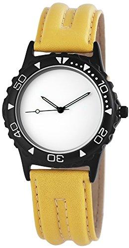 WMC Damenuhr mit Lederimitationarmband Armbanduhr Uhr Weiß 8918