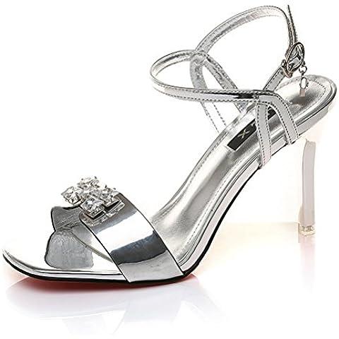 Estiletes verano de las mujeres del dedo del pie cabeza de pescado abierto con diamantes de imitación brillante hebilla sandalias elegantes Bombas