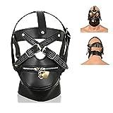 Roulck Bondage Ledermaske mit Reißverschluss Abschließbar Fetisch Kopfmaske BDSM Sexspielzeug für Frauen Männer Paar