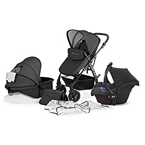 Kinderkraft Moov 3 in 1 Pushchair/Pram/Travel System with 0+ Car Seat - Graphite Grey   14