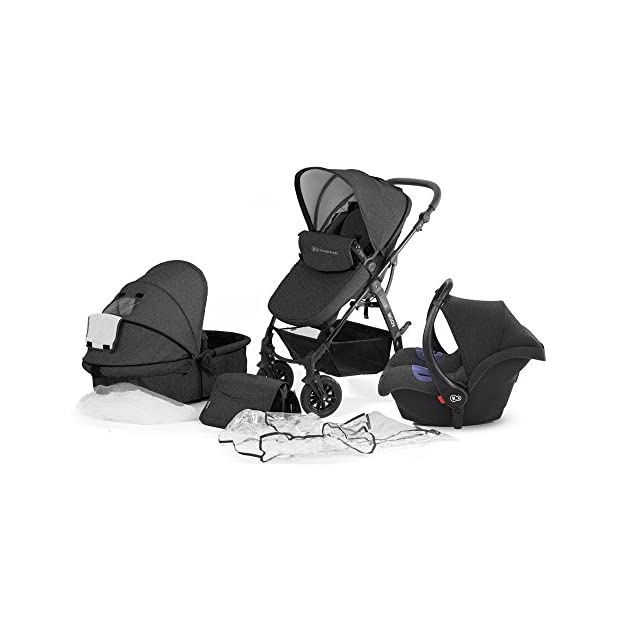 Kinderkraft Moov 3 in 1 Pushchair/Pram/Travel System with 0+ Car Seat - Graphite Grey