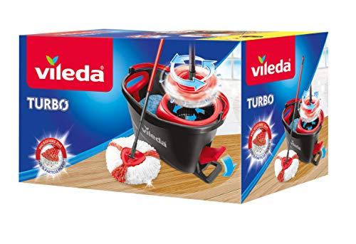 Vileda Easy Wring & Clean Turbo -Juego de fregona con palo telescópico y cubo escurridor giratorio, color negro y rojo, 48.6 x 29.6 x 29.3 cm
