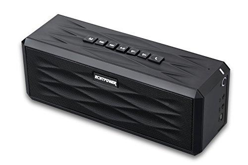 ECHTPower Mobiler Bluetooth 4.0 Lautsprecher mit 10W Treiber, 20-Stunden-Akkulaufzeit, reinem Bass, NFC, 3,5mm Aux-in, 5V 1A Stromversorgung und eingebautem Mikrofon (Laut Cd Player Für Auto)