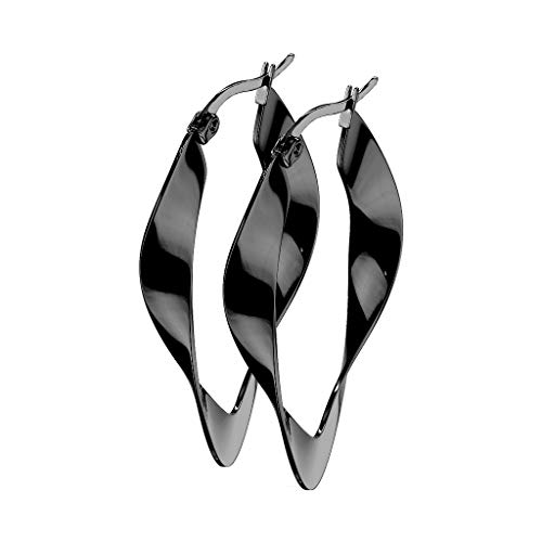 beyoutifulthings 1 Paar Damen Ohringe verdrehte CREOLEN OVALES-DESIGN Ohr-ringe Set Ohr-stecker Chirurgenstahl Schwarz