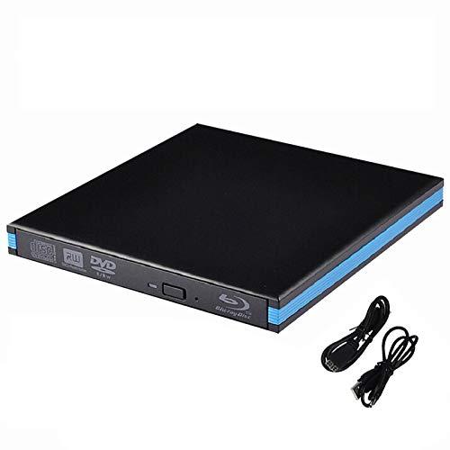 HM2 Externes Blu-Ray-Laufwerk USB 3.0 Blu-ray-Brenner BD-RE-CD/DVD-RW Brenner Wiedergabe 3D Blu-Ray Disc für PC/Laptop,Schwarz