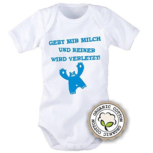 Babybody mit Aufdruck: GEBT MIR MILCH UND KEINER WIRD VERLETZT! (62/68, Blau)