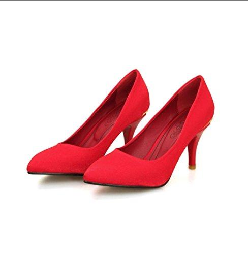 Da donna-Tacchi-Ufficio e lavoro Casual Serata e festa-Comoda-A stiletto-Seta-Nero Viola Rosso Beige Red
