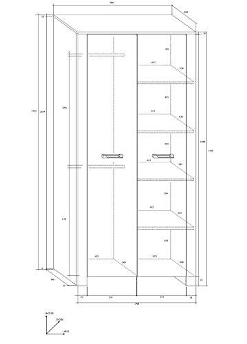 """Wohnzimmer Möbel Satz, TV Wohnwand """"HUGO IV"""" TV Bank, Display Einheit, Wandhängend Regal, 2T Kleiderschrank plus Kommode (2 Schubladen 2 Türen) und Aufklappbarer Kaffetisch. Eiche Sonoma Hell/Eiche Sonoma Dunkel. - 2"""