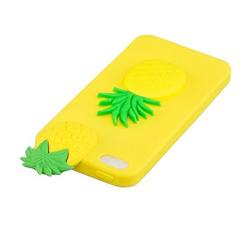 Cover iPhone 5s Custodia iphone 5 Silicone 3D Cartoon Leton Morbido TPU Gel Case per Apple iPhone 5s / 5 / SE (4.0 pollici) Ultra Sottile Flessibile Satinato Gomma Caso Anti Graffio Antiurto Protettiv Ananas Giallo