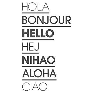 dekodino® Wandtattoo Spruch lustig Hola Bonjour Hello Wandsticker Dekoration