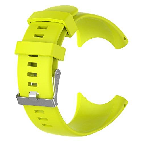 XIHAMA Armband für Suunto Core All Black Smartwatch, weiches Silikon Ersatzband Armband für Sport Fitness Activity Tracker(Fluoreszenzgelb)