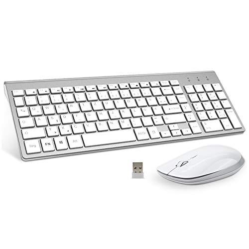 FENIFOX Tastatur Und Maus Set Kabellos, USB QWERTZ SlimTastatur Maus Set Kabellos, USB QWERTZ Slim Tastatur 2.4G Wireless für PC Computer Laptop Smart TV Mac Imac Windows-Silber und Weiß