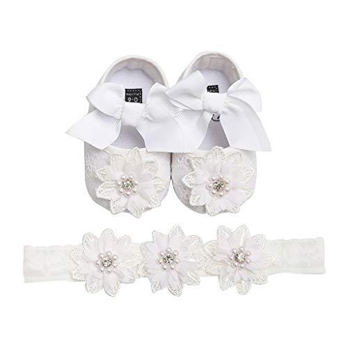 Cardith Prinzessin süß Babyschuhe 2 Pcs Baby Mädchen Schuh Anti-Rutsch-weiche Sohle Kleinkind Schuhe+ Stirnband