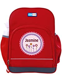 UniQBees Personalised School Bag With Name (Little Life Pre-School Backpack-Red-Pink Flowers)