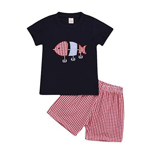 Pwtchenty Freizeitkleidung Bekleidungssets 2pcs Baby Jungen Kleidung Set Kinder Herbst-Sommer Baumwoll Casual Stickerei Druck Kurzarm T-Shirt Bluse Tank Plaid Print Hosen Outfits Set für 0-4 Jahre -
