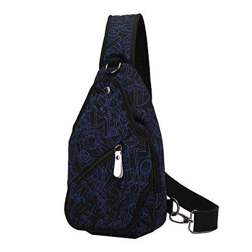 Yy.f Neue Segeltuchtasche Tasche Männer Brust Schulter Diagonal Paket Freizeit Brusttasche Einfaches Paket Gezeiten Segeltuchrucksack Bunte Taschen Black