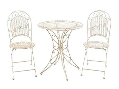Set Garnitur Garten Tisch + 2 StÜhle Eisen GartenmÖbel Antik Stil Creme Weiss